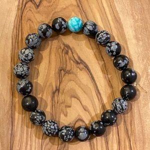 Black/Gray Agate + Green Agate 8mm Bead Bracelet